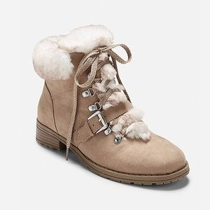 NWT JUSTICE Girls Faux Fur Hiking Boots